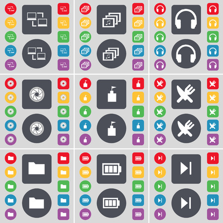 skip: Connection, Gallery, Headphones, Lens, Flag tower, Fork and knife, Folder, Battery, Media skip icon symbol. A large set of flat, colored buttons for your design. Vector illustration
