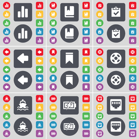 lan: Diagram, Dictionary, Survey, Arrow left, Marker, Videotape, Ship, Charging, LAN socket icon symbol. A large set of flat, colored buttons for your design. Vector illustration