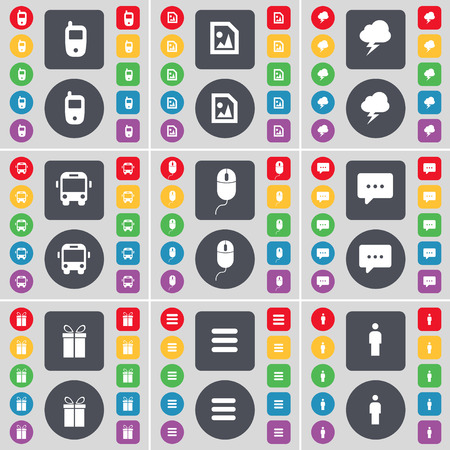 chat bubble vector: Mobile phone, Media file, Lightning, Bus, Mouse, Chat bubble, Gift, Apps, Silhouette icon symbol. A large set of flat, colored buttons for your design. Vector illustration Illustration