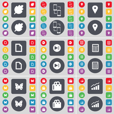skip: Leaf, Connection, Checkpoint, File, Media skip, Calculator, Butterfly, Shopping bag, Graph icon symbol. A large set of flat, colored buttons for your design. Vector illustration