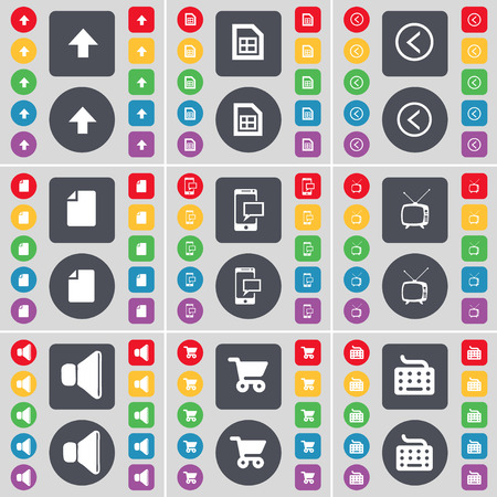 retro tv: Arrow up, File, Arrow left, File, SMS, Retro TV, Sound, Shopping cart, Keyboard icon symbol. A large set of flat, colored buttons for your design. Vector illustration