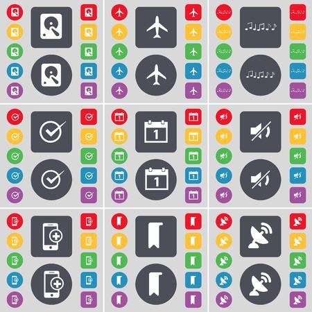 disco duro: Disco duro, Avi�n, Nota, Tick, Calendario, Mute, Smartphone, Marker, icono Parab�lica s�mbolo. Un gran conjunto de planos botones, colores para su dise�o. Ilustraci�n vectorial Vectores