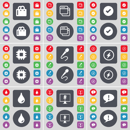 chat bubble icon: Shopping cart, Window, Tick, Processor, Microphone, Flash, Drop, Monitor, Chat bubble icon symbol. A large set of flat, colored buttons for your design. Vector illustration