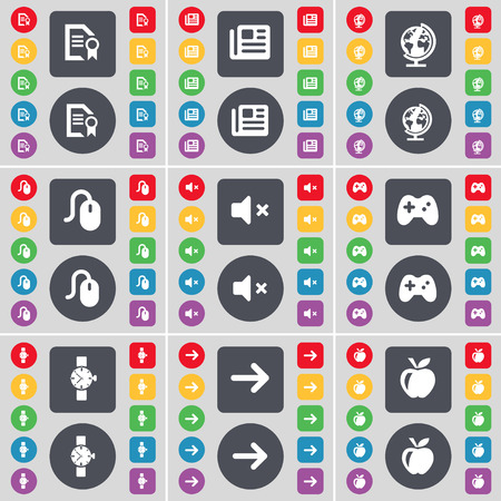 orologio da polso: Text file, Newspaper, Globe, Mouse, Mute, Gamepad, Wrist watch, Arrow right, Apple icon symbol. A large set of flat, colored buttons for your design. Vector illustration Vettoriali