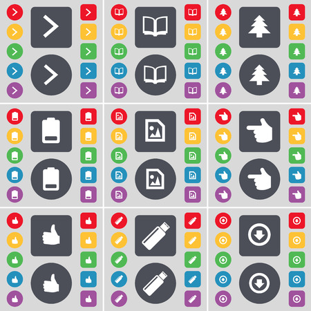 arrow down icon: Arrow right, Book, Firtree, Battery, Media file, Hand, Like, USB, Arrow down icon symbol. A large set of flat, colored buttons for your design. Vector illustration Illustration