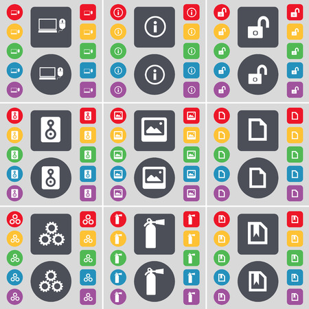 fire extinguisher symbol: Laptop, Information, Lock, Speaker, Window, File, Gear, Fire extinguisher icon symbol. A large set of flat, colored buttons for your design. Vector illustration