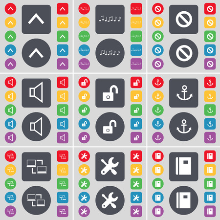 lock up: Arrow up, Note, Stop, Sound, Lock, Anchor, Connection, Wrench, Notebook icon symbol. A large set of flat, colored buttons for your design. Vector illustration Illustration