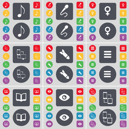 venus: Note, Microphone, Venus symbol, Connection, Rocket, Apps, Book, Vision icon symbol. A large set of flat, colored buttons for your design. Vector illustration