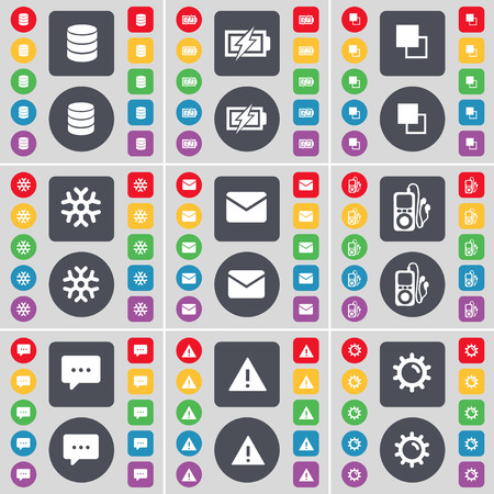 mp3 player: Database, Charging, Copy, Snowflake, Message, MP3 player, Chat bubble, Warning, Gear icon symbol. A large set of flat, colored buttons for your design. Vector illustration