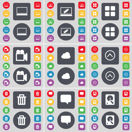 chat up: Laptop, Apps, Film camera, Cloud, Arrow up, Trash can, Chat bubble, Hard drive icon symbol. A large set of flat, colored buttons for your design. Vector illustration