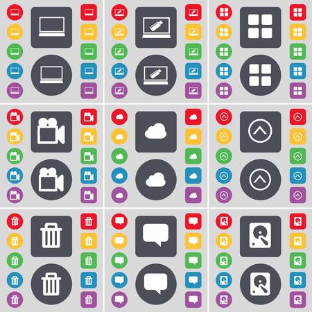 disco duro: Ordenador port�til, Aplicaciones, c�mara de cine, Nube, Flecha arriba, Bote de basura, Chat burbuja, Disco duro icono de s�mbolo. Un gran conjunto de planos botones, colores para su dise�o. Ilustraci�n vectorial Vectores