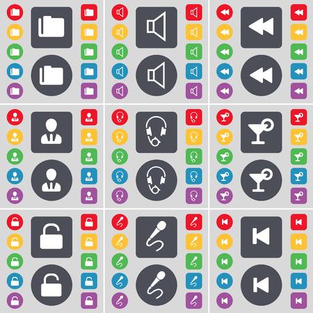 folder lock: Folder, Sound, Rewind, Avatar, Headphones, Cocktail, Lock, Microphone, Media skip icon symbol. A large set of flat, colored buttons for your design. Vector illustration
