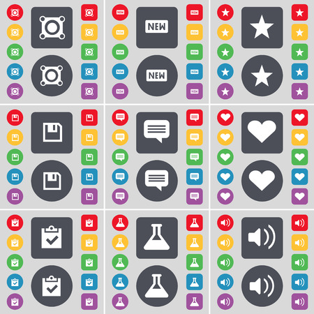 chat bubble: Speaker, New, Star, Floppy, Chat bubble, Heart, Survey, Flask, Sound icon symbol. A large set of flat, colored buttons for your design. Vector illustration Illustration