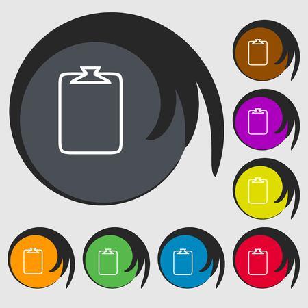 attach: File annex icon. Paper clip symbol. Attach sign. Symbols on eight colored buttons. Vector illustration