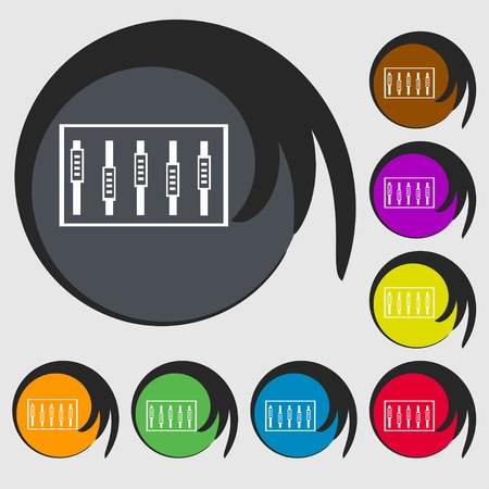 handles: Dj console mix handles and buttons, level icons. Symbols on eight colored buttons. Vector illustration