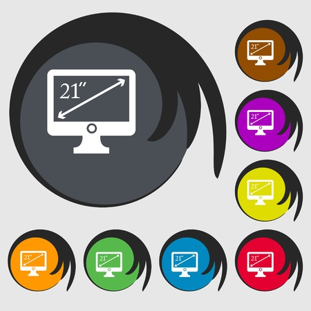 inches: diagonal of the monitor 21 inches icon sign. Symbols on eight colored buttons. Vector illustration Illustration