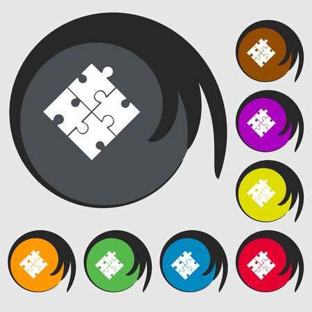 conundrum: Puzzle piece icon sign. Symbols on eight colored buttons. Vector illustration