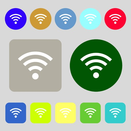 wifi sign: Wifi sign. Wi-fi symbol. Wireless Network icon zone.12 colored buttons. Flat design. Vector illustration