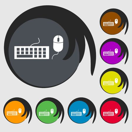 input device: Computer keyboard and mouse Icon. Symbols on eight colored buttons. Vector illustration Illustration