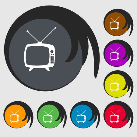 mode: Retro TV mode sign icon. Television set symbol. Symbols on eight colored buttons. Vector illustration Illustration