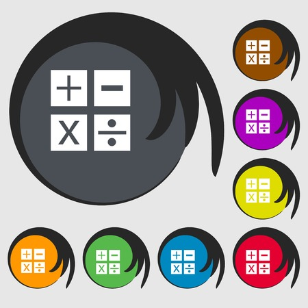 mathematics symbols: Multiplication, division, plus, minus icon Math symbol Mathematics. Symbols on eight colored buttons. Vector illustration