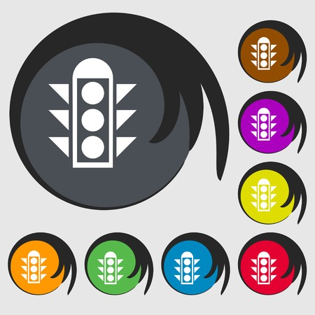 light signal: Traffic light signal icon sign. Symbols on eight colored buttons. Vector illustration