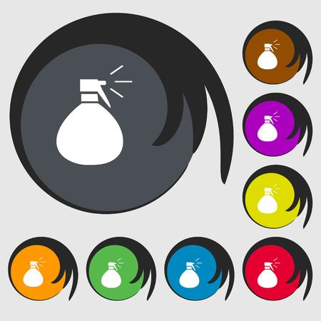 humidity: plastic spray of water icon sign. Symbols on eight colored buttons. Vector illustration