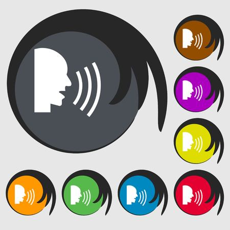 loudly: Talking Flat modern web icon. Symbols on eight colored buttons. Vector illustration