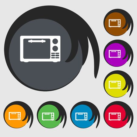 microwave stove: Microwave oven sign icon. Kitchen electric stove symbol. Symbols on eight colored buttons. Vector illustration