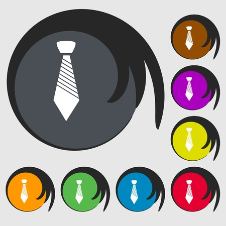 regular people: Tie sign icon. Business clothes symbol. Symbols on eight colored buttons. Vector illustration Illustration