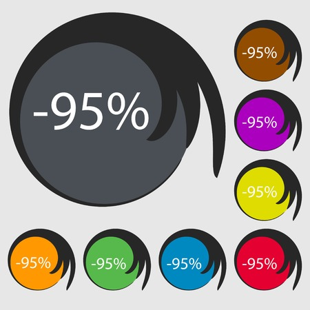95: 95 percent discount sign icon. Sale symbol. Special offer label. Symbols on eight colored buttons. Vector illustration Illustration