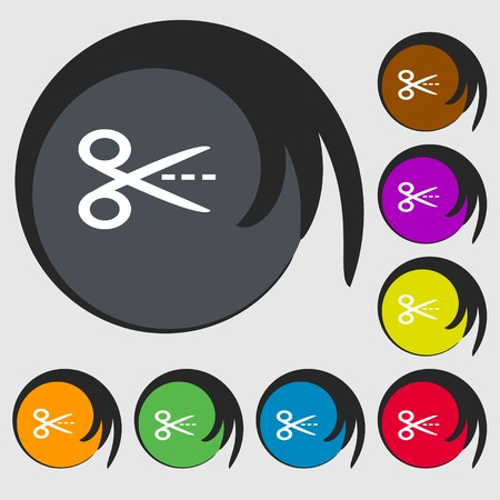 snip: Scissors with cut dash dotted line sign icon. Tailor symbol. Symbols on eight colored buttons. Vector illustration