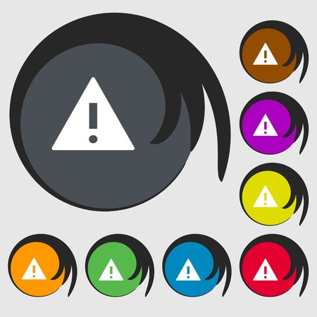 wrapped corner: Attention sign icon. Exclamation mark. Hazard warning symbol. Symbols on eight colored buttons. Vector illustration