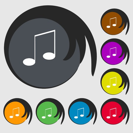 eight note: Music note sign icon. Musical symbol. Symbols on eight colored buttons. Vector illustration Illustration