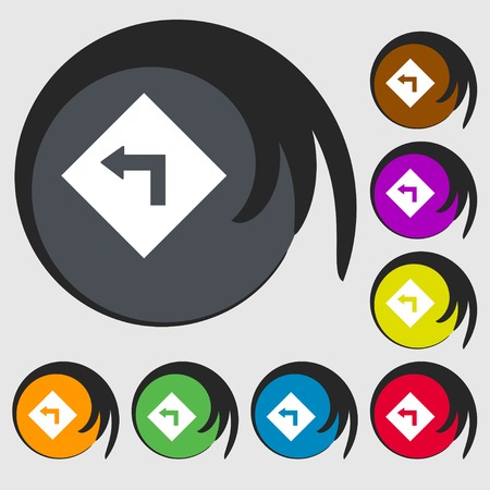 danger ahead: Road sign warning of dangerous left curve icon sign. Symbols on eight colored buttons. Vector illustration Illustration