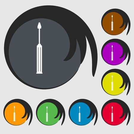 sig: Screwdriver tool sign icon. Fix it symbol. Repair sig. Symbols on eight colored buttons. Vector illustration