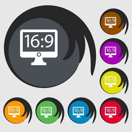 aspect: Aspect ratio 16:9 widescreen tv icon sign. Symbols on eight colored buttons. Vector illustration