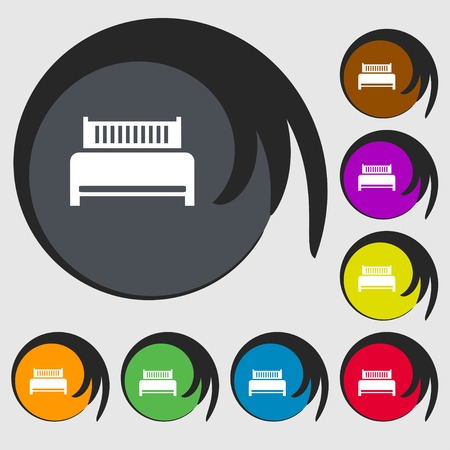 hotel bed: Hotel, bed icon sign. Symbols on eight colored buttons. Vector illustration Illustration