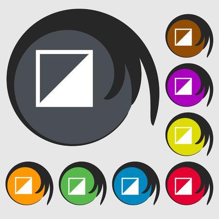 contraste: contrastar icono de signo. S�mbolos en ocho botones de colores. Ilustraci�n vectorial