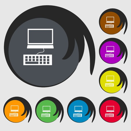 input device: Computer monitor and keyboard Icon. Symbols on eight colored buttons. Vector illustration