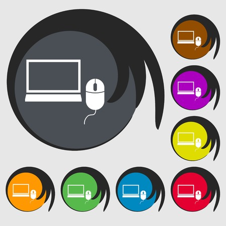 ico: Computer widescreen monitor, mouse sign ico. Symbols on eight colored buttons. Vector illustration Illustration