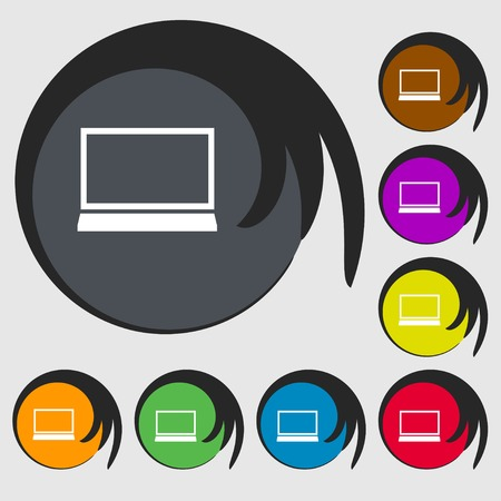 netbook: Laptop sign icon. Notebook pc symbol. Symbols on eight colored buttons. Vector illustration