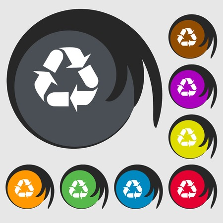 processing: processing icon sign. Symbols on eight colored buttons. Vector illustration