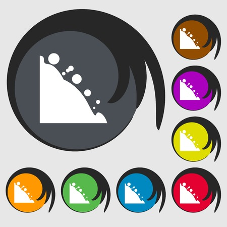 tumble down: Rockfall icon. Symbols on eight colored buttons. Vector illustration Illustration