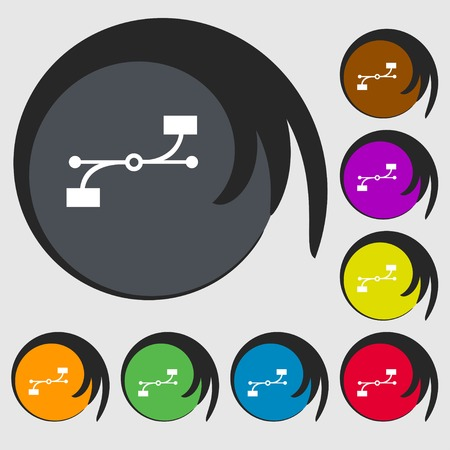 bezier: Bezier Curve icon sign. Symbols on eight colored buttons. Vector illustration