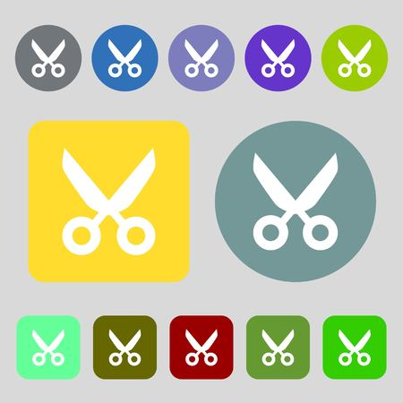 disclosed: Scissors hairdresser sign icon. Tailor symbol.12 colored buttons. Flat design. Vector illustration Illustration
