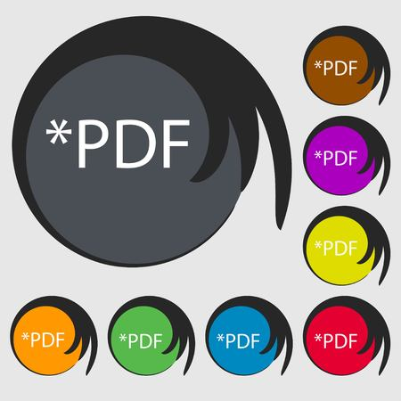 file extension: PDF file document icon. Download pdf button. PDF file extension symbol. Symbols on eight colored buttons. Vector illustration