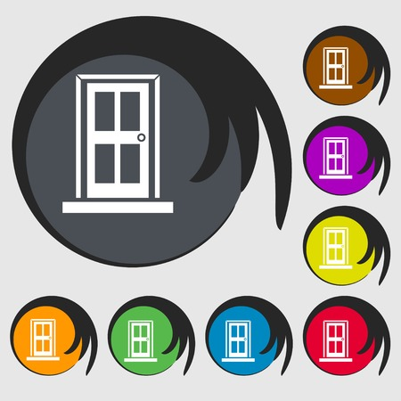 door icon: Door icon sign. Symbols on eight colored buttons. Vector illustration
