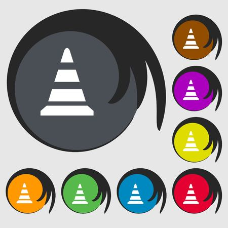 traffic pylon: road cone icon. Symbols on eight colored buttons. Vector illustration