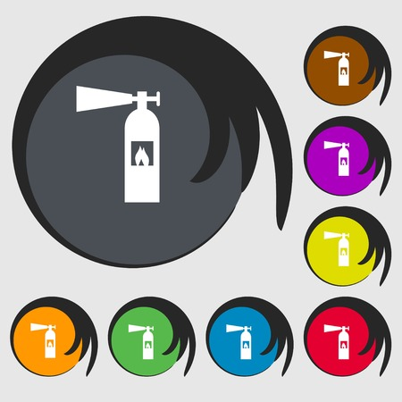 flammability: fire extinguisher icon sign. Symbols on eight colored buttons. Vector illustration Illustration